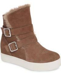 J/Slides - Wells Faux Fur Trim High Top Sneaker - Lyst