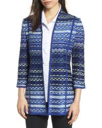 Ming Wang - Stripe Jacquard Sweater Jacket - Lyst