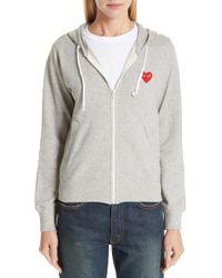 COMME DES GARÇONS PLAY - Melange Grey Sweatshirt With Logo - Lyst