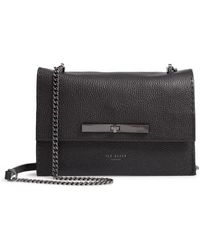 241cbba6d90a7 Lyst - Ted Baker  lowri  Croc Embossed Leather Shoulder Bag in Black