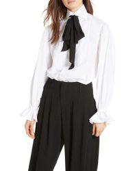 Polo Ralph Lauren - Tie Neck Cotton Blouse - Lyst