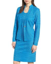 Ming Wang - Jacquard Knit Long Sleeve Jacket - Lyst