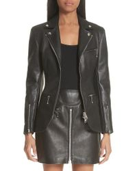 Alexander Wang - Zip Front Leather Blazer - Lyst