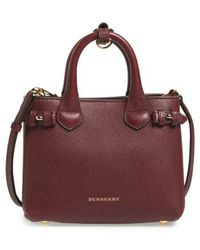 Burberry - 'mini Banner' House Check Leather Tote - - Lyst