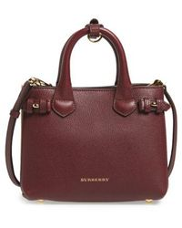 Burberry - 'mini Banner' House Check Leather Tote - Lyst