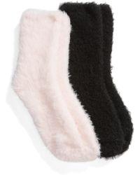 Make + Model - Fuzzy 2-pack Crew Socks, Black - Lyst
