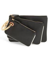 Fendi | Triplette Set Of Three Calfskin Leather Pouches | Lyst