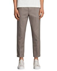 AllSaints - Tallis Pleated Cotton & Wool Trousers - Lyst