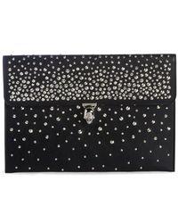 Alexander McQueen - Studded Skull Closure Leather Envelope Clutch - - Lyst