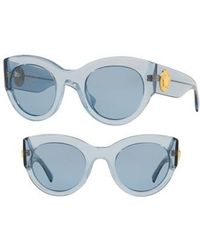 Versace - Tribute 51mm Cat Eye Sunglasses - Transparent Azure Solid - Lyst