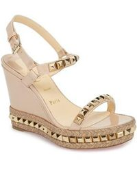 3cdacfd22c2 Christian Louboutin Pyraclou Studded Platform Wedge Sandal in Blue ...