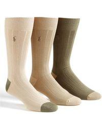 Polo Ralph Lauren | 3-pack Ribbed Socks, Beige | Lyst