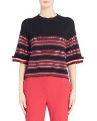 Fendi - Genuine Mink Fur Trim Stripe Sweater - Lyst