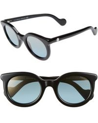 Moncler | 51mm Sunglasses - Shiny Black/ Blue Mirror | Lyst