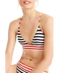 J.Crew - Stripe Banded T-back Bikini Top - Lyst