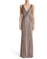 Rachel Gilbert - Hand Embellished V-neck Gown - Lyst