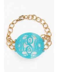 Moon & Lola | 'annabel' Large Oval Personalized Monogram Bracelet (nordstrom Exclusive) | Lyst