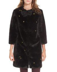 Ted Baker - Bee Embellished Faux Fur Coat - Lyst