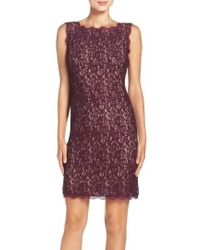 Adrianna Papell | Boatneck Lace Sheath Dress | Lyst