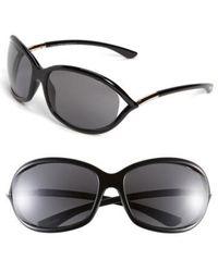 Tom Ford - Jennifer 61mm Polarized Open Temple Sunglasses - Shiny Black/ Grey Polarized - Lyst