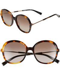 8624487853e Max Mara - Wand Iii 53mm Round Sunglasses - Dark Havana - Lyst