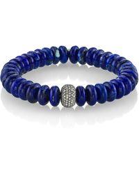 Sheryl Lowe - Lapis Bracelet With Pave Diamonds - Lyst