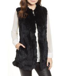 Love Token - Genuine Rabbit Fur Vest With Genuine Fox Fur Trim - Lyst