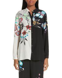 Etro - Bicolor Floral Print Silk Blouse - Lyst