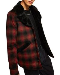 TOPMAN - Check Faux Fur Lined Rodeo Jacket - Lyst