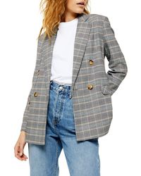 TOPSHOP Double Breasted Plaid Blazer - Gray