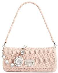 Miu Miu - Medium Swarovski Crystal Chain Leather Shoulder Bag - Lyst
