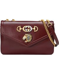 64718d3736db6f Lyst - Gucci Rajah Genuine Python Large Tote - Burgundy in Red