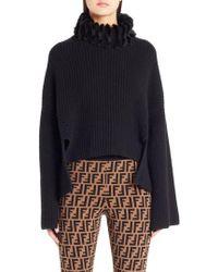 Fendi - Genuine Mink Fur Turtleneck Cashmere Sweater - Lyst