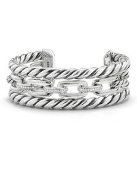 David Yurman - Wellesley Three-row Cuff With Diamonds - Lyst