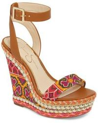 Jessica Simpson - Alinda Embellished Wedge Sandal - Lyst