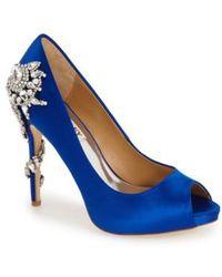 Badgley Mischka - 'royal' Crystal Embellished Peeptoe Pump - Lyst