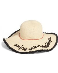 Sole Society - Embroidered Straw Sun Hat With Fringe - Lyst