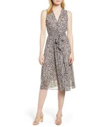 Anne Klein - Animal Print Chiffon Midi Dress - Lyst