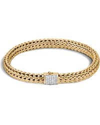 John Hardy - Classic Chain Diamond & 18k Gold 6.5mm Bracelet - Lyst