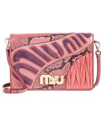95122d75b91a Miu Miu - Madras Goatskin Leather Shoulder Bag With Genuine Python Trim -  Lyst
