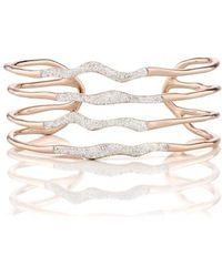 Monica Vinader - Riva Diamond Hero Wave Cuff Bracelet - Lyst