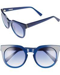 Derek Lam - 'stella' 51mm Round Sunglasses - Ink - Lyst
