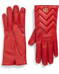Gucci - GG Marmont Chevron Leather Gloves - Lyst
