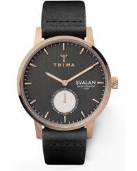 Triwa - Noir Svalan Leather Strap Watch - Lyst