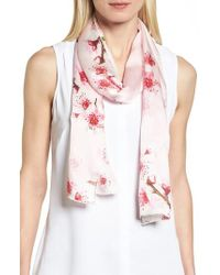 Ted Baker - Soft Blossom Silk Skinny Scarf - Lyst