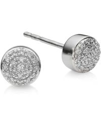 Monica Vinader - Fiji Mini Diamond Button Stud Earrings - Lyst