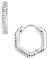 Nadri - Hexagon Huggie Earrings - Lyst