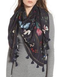 Treasure & Bond - Floral Print Tassel Silk Scarf - Lyst
