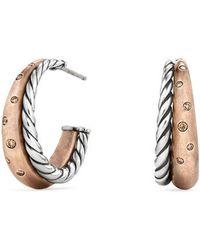 David Yurman - Pure Form Mixed Metal Hoop Earrings With Diamonds, Bronze & Silver - Lyst