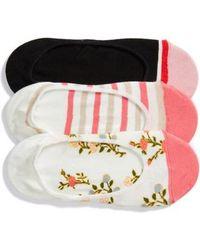 Kate Spade - 3-pack Mini Bloom No-show Socks, White - Lyst
